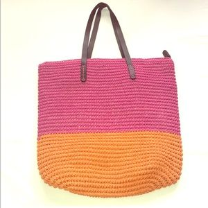 NWOT Gap Woven Straw Tote Orange & Pink